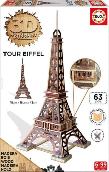 EDUCA 3D puzzle Eiffelova věž 63 dílků