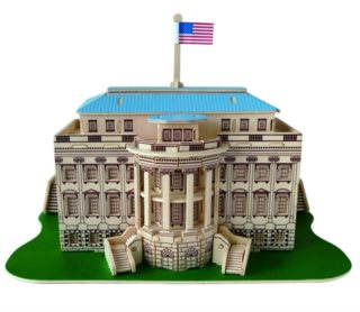WOODEN TOY , WCK 3D puzzle Bílý dům barevný
