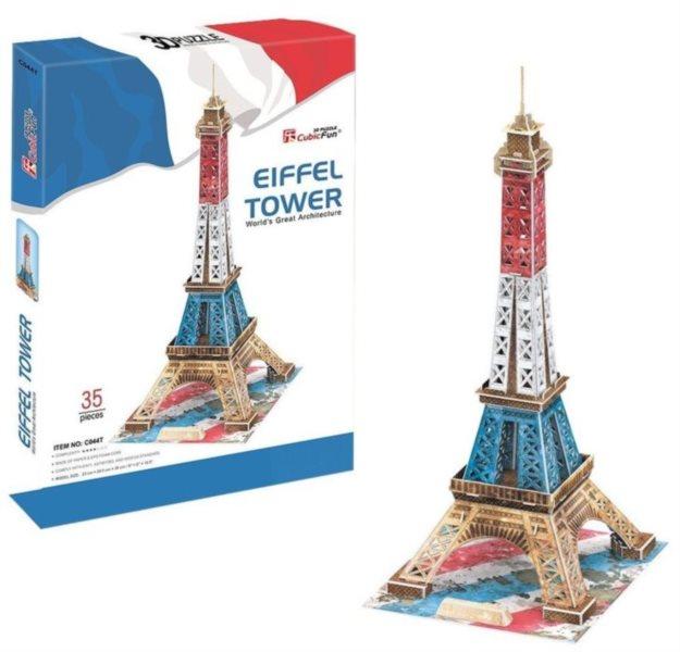 3D puzzle CUBICFUN - Eiffelova věž (vlajková edice) 35 dílků, Paříž