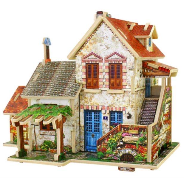 ROBOTIME 3D puzzle Francouzský venkovský domek barevný 44 dílků