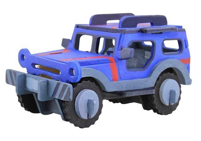 ROBOTIME 3D dřevěné Jeep Transportér s barvičkami