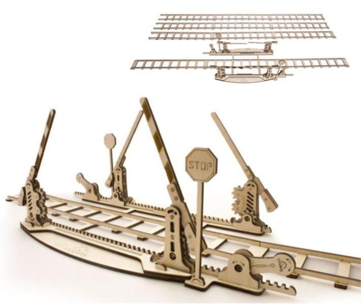UGEARS 3D puzzle Koleje se závorami 200 dílků