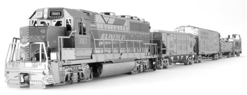 METAL EARTH 3D puzzle Nákladní lokomotiva se 4 vagony (deluxe set)