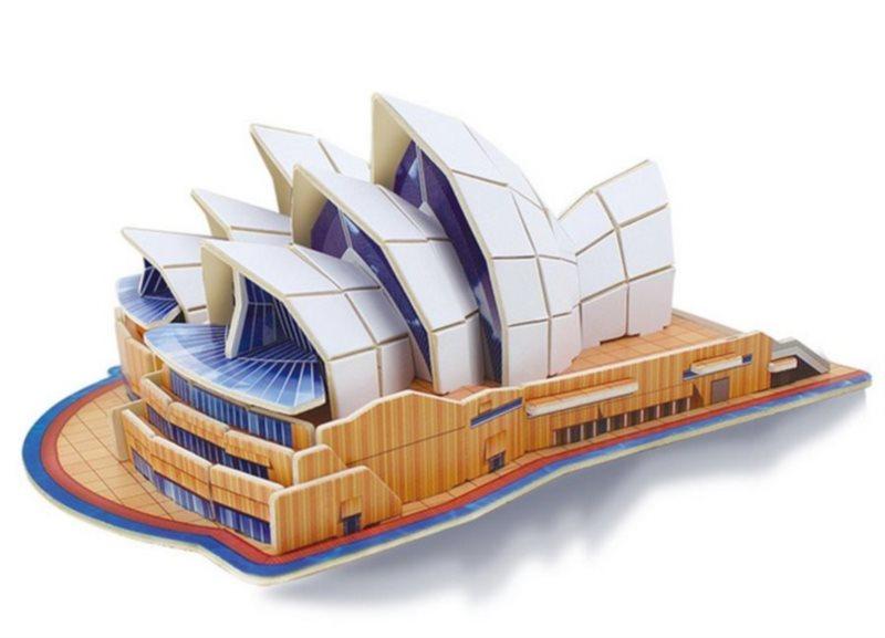 ROBOTIME 3D dřevěné puzzle Opera v Sydney barevná 86 dílků