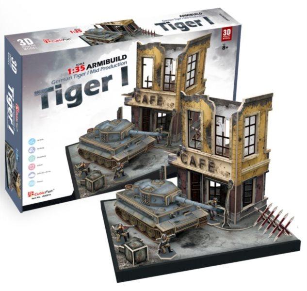 CUBICFUN 3D puzzle Panorama s tankem Tiger I 258 dílků