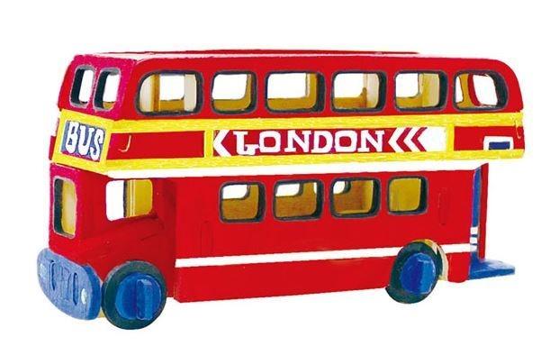 ROBOTIME 3D dřevěné puzzle Patrový autobus s barvičkami