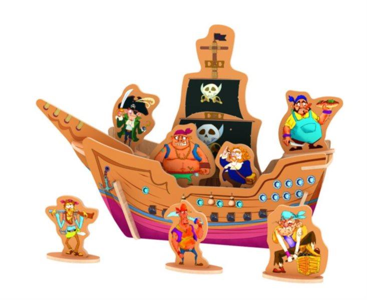 ROBOTIME 3D puzzle Pirátská loď s posádkou barevná