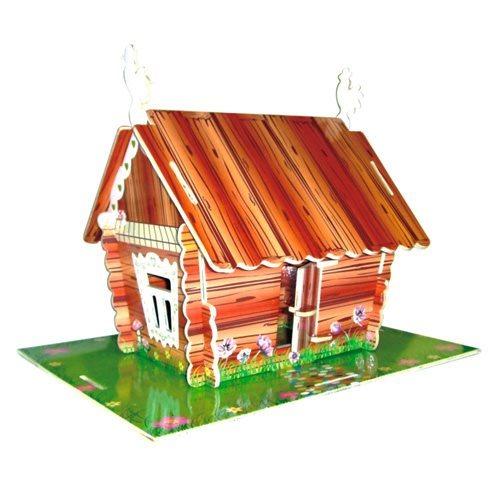 WOODEN TOY , WCK 3D puzzle Ruský pohádkový domeček barevný