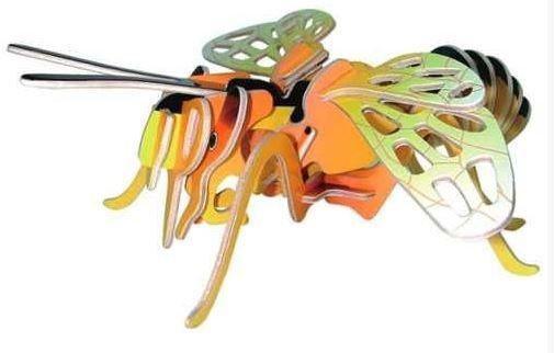 WOODEN TOY , WCK 3D puzzle Včela barevná malá