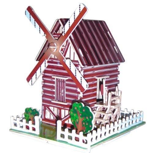 WOODEN TOY , WCK 3D puzzle Větrný mlýn barevný