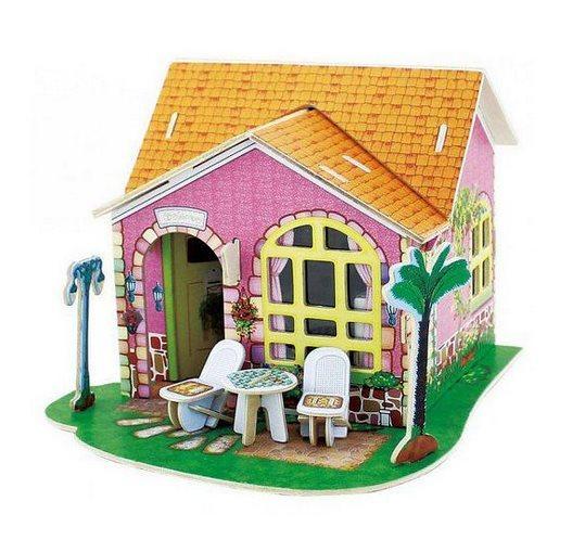 ROBOTIME 3D dřevěné puzzle Vila snů: Obývací pokoj barevný 82 dílků