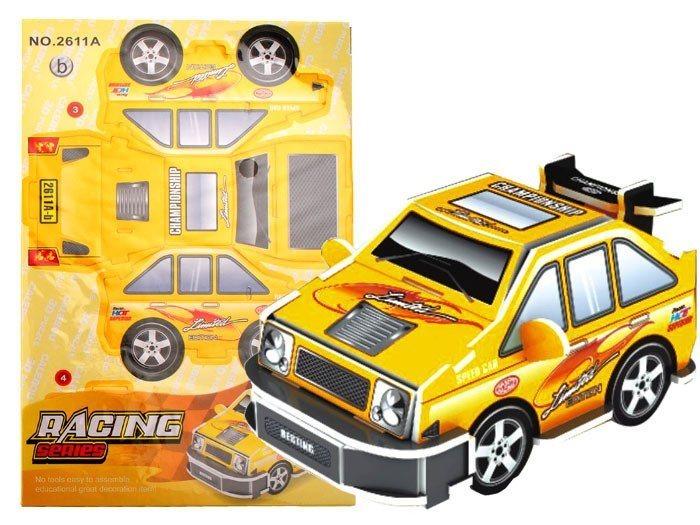 3D puzzle Závodní auto žluté