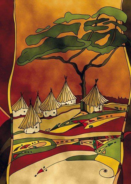 CLEMENTONI Puzzle s pískovým povrchem Afrika: Venkov 500 dílků