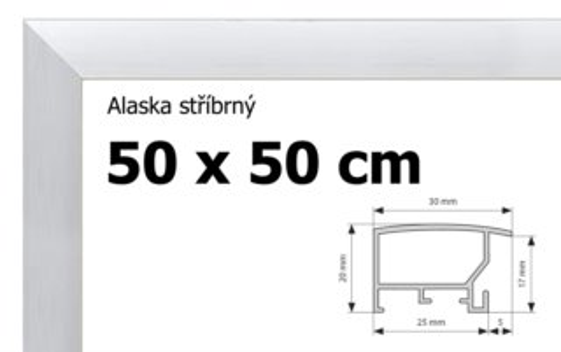 BFHM Alaska hliníkový rám na puzzle 50x50cm - stříbrný