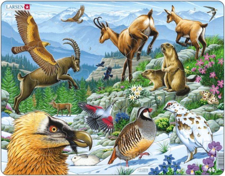 Výukové puzzle LARSEN 55 dílků - Alpy