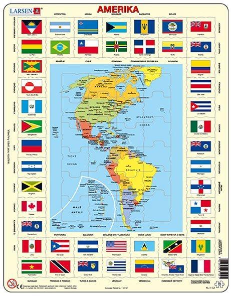 LARSEN Puzzle Amerika - mapa a vlajky 70 dílků