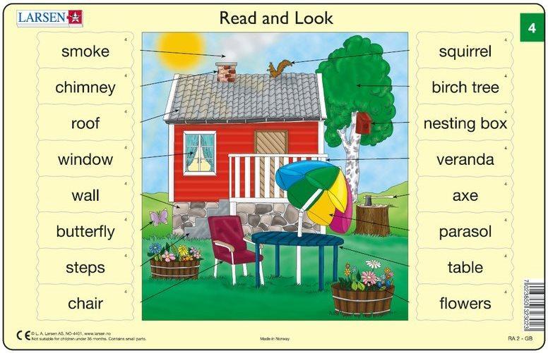 Vzdělávací puzzle LARSEN - Angličtina (4): Domek se zahradou