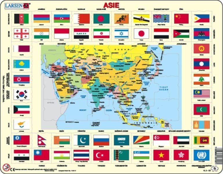 LARSEN Puzzle Asie - mapa a vlajky 70 dílků