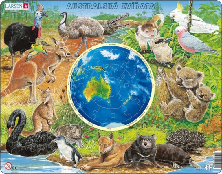 Výukové puzzle LARSEN 90 dílků - Australská zvířata