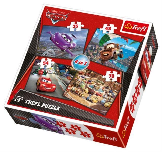 TREFL Puzzle pro děti 4v1 - Auta (35,48,54,70 dílků)