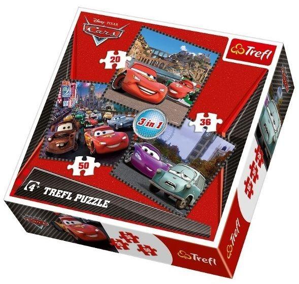 Puzzle pro děti 3v1 TREFL - Auta (Cars): Cesta kolem světa 20,36,50 dílků