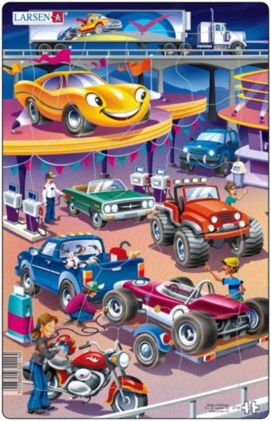 LARSEN Puzzle Auta na benzínce 15 dílků