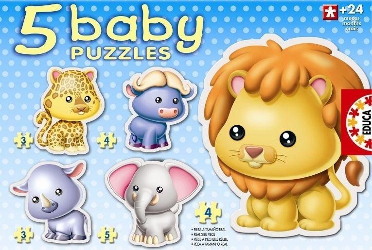 EDUCA Baby puzzle Divoká zvířátka 5v1 (3-5 dílků)