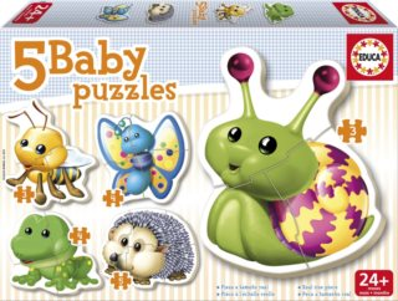 EDUCA Baby puzzle Malá zvířátka 5v1 (3-5 dílků)