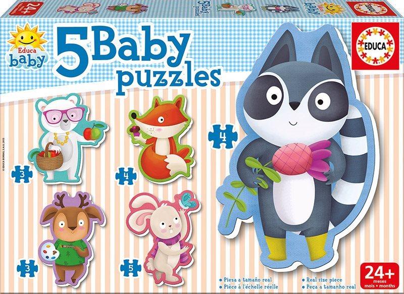EDUCA Baby puzzle Roztomilá zvířátka 5v1 (3-5 dílků)