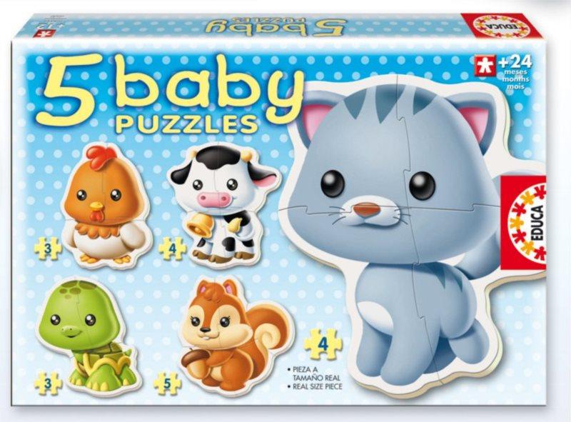 EDUCA Baby puzzle Zvířátka 5v1 (3-5 dílků)