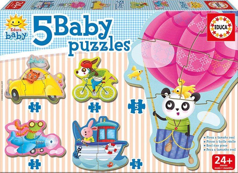 EDUCA Baby puzzle Zvířátka a doprava 5v1 (3-5 dílků)
