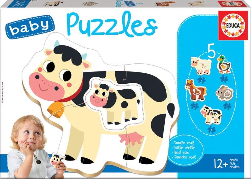 EDUCA Baby puzzle Zvířátka na farmě s mláďaty 5v1 (2-4 dílky)
