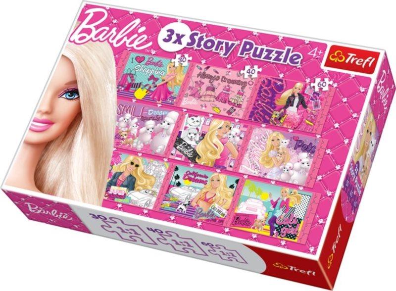Dětské puzzle 9v1 TREFL - Barbie, 3 příběhy