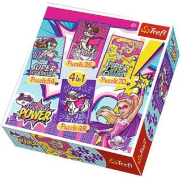TREFL Puzzle pro děti 4v1 - Barbie: Odvážná princezna (35 - 70 dílků)