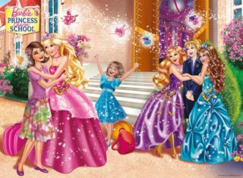 Dětské puzzle RAVENSBURGER 100 dílků - Barbie škola pro princezny XXL