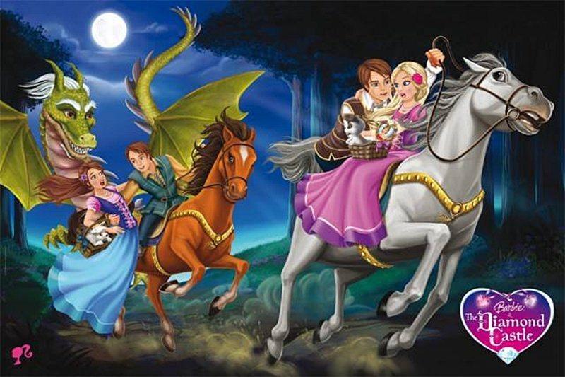 Maxi puzzle pro děti TREFL 24 dílků - Barbie: Útěk na koních