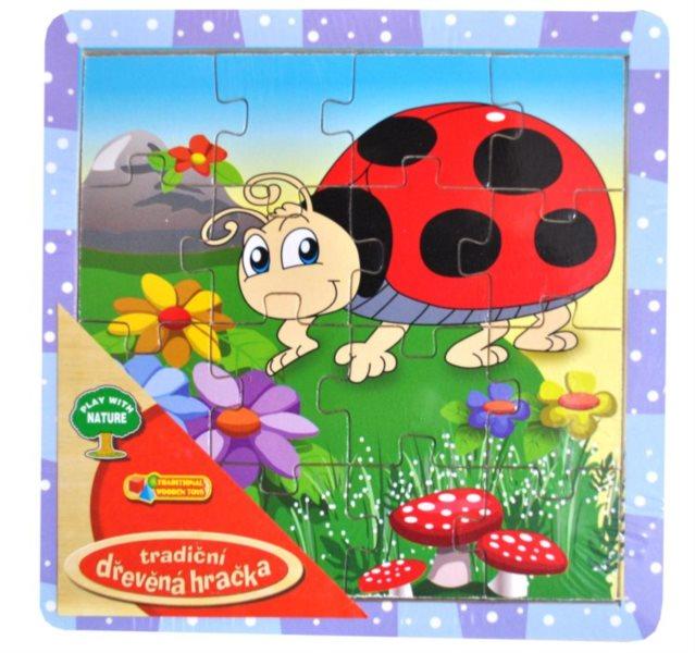 Dřevěné deskové puzzle pro děti - Beruška 16 dílků