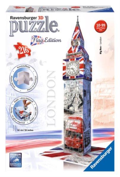3D puzzle RAVENSBURGER 216 dílků - Big Ben 3D (vlajková edice)