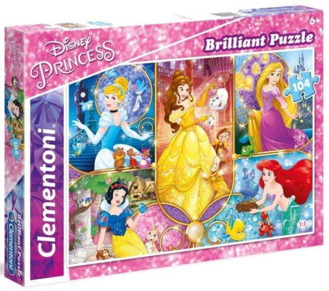 CLEMENTONI Briliant puzzle Disney princezny: Pohádkové světy 104 dílků