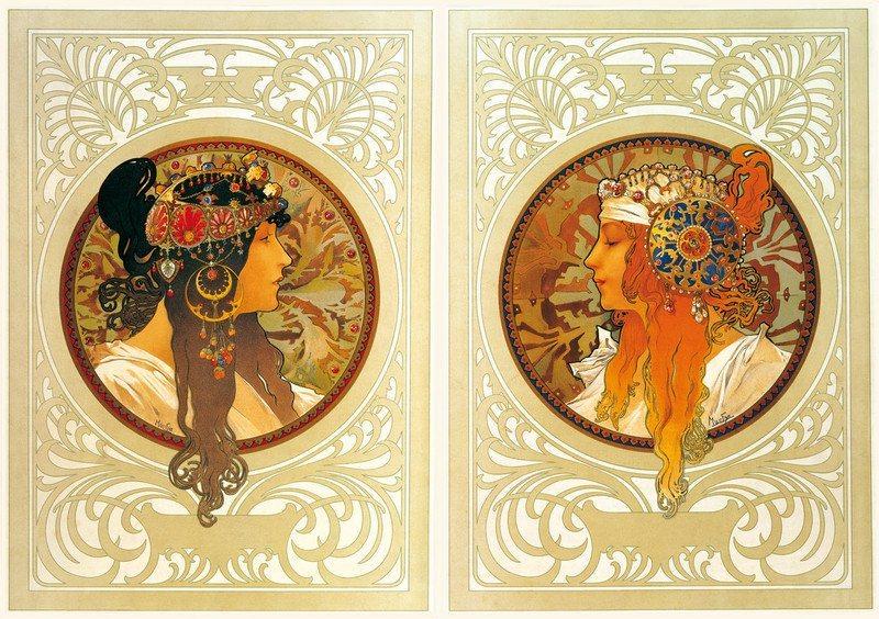 Puzzle ZDEKO 2 x 1000 dílků - Alfons Mucha, Brunetka a blondýna
