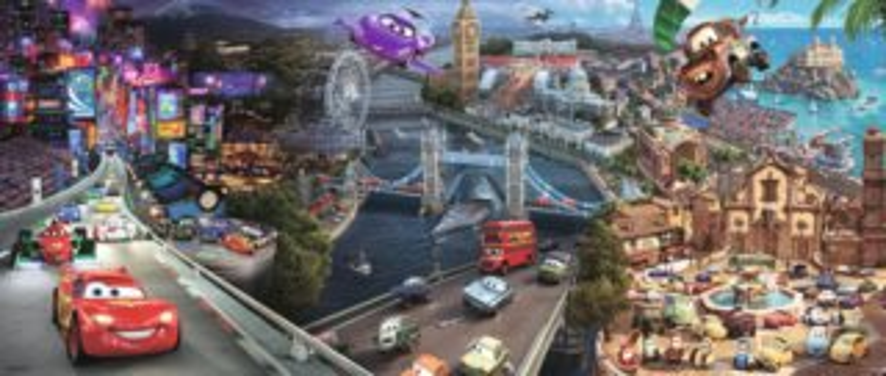 Dětské puzzle RAVENSBURGER 200 dílků - Cars (Auta): Kolem světa XXL