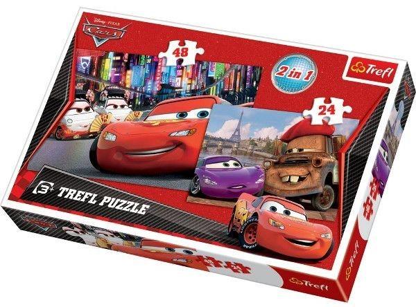 TREFL Puzzle pro děti 2v1 Cars Auta Tokio a Paříž 24 a 48 dílků
