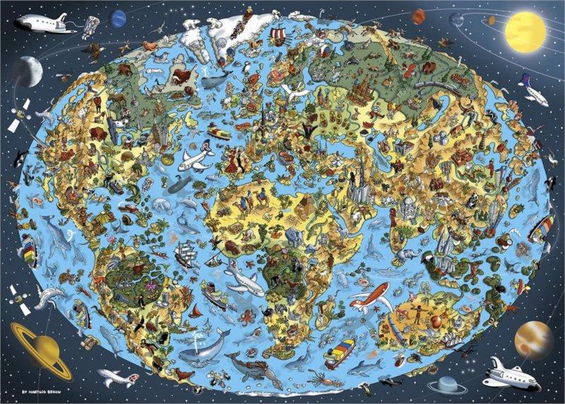 DINO Puzzle Kreslená mapa světa 1000 dílků