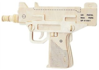 WOODEN TOY , WCK 3D puzzle Pistole UZI 9mm