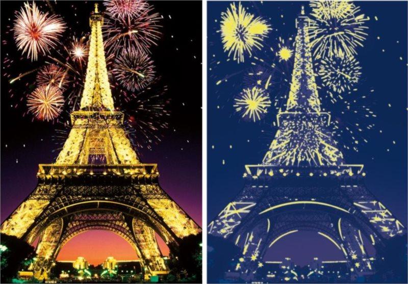 Svítící puzzle DINO 1000 dílků - Noční Eiffelova věž