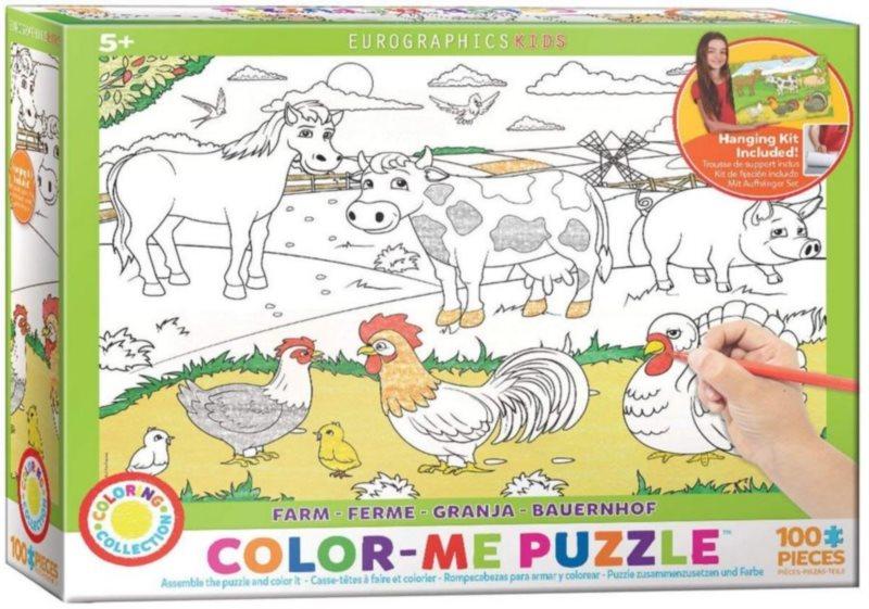 EUROGRAPHICS Color me puzzle Farma 100 dílků + sada na zavěšení