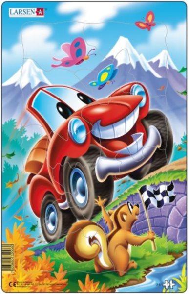 LARSEN Puzzle Červené auto 12 dílků