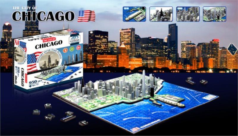 4D Cityscape Time puzzle - Chicago 958 dílků