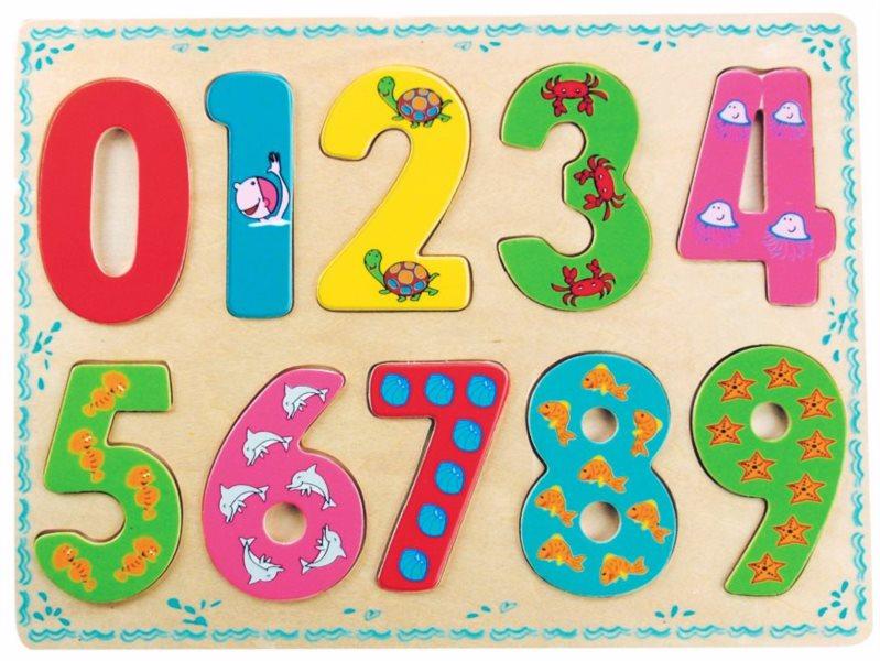 Vkládačka BINO 88109 Číslice s obrázky - Dřevěná dětská vkládačka