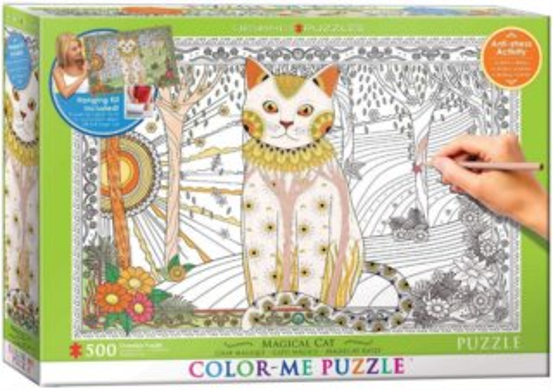EUROGRAPHICS Color me puzzle Magická kočka 500 dílků + sada na zavěšení